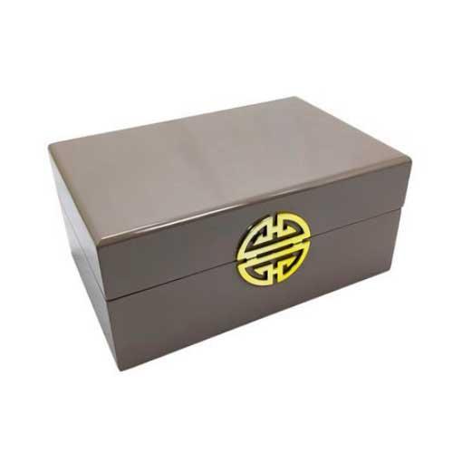 Caixa Decorativa Cinza com Dourado - 11x24x16cm