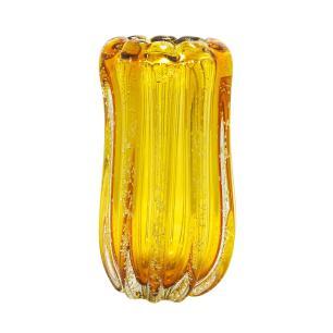Vaso em Murano Âmbar com Detalhes - 13x27x13cm