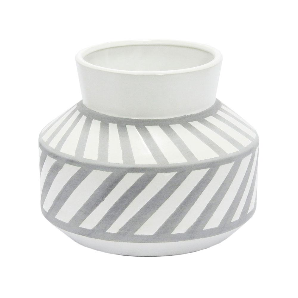Vaso Decorativo Branco com Detalhes Cinza - 20x24x24cm