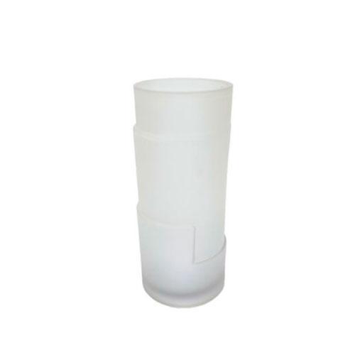 Vaso em Vidro Decorativo com Relevo Branco - 28,5x12,5cm