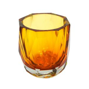 Vaso em Vidro Murano na Cor Âmbar - 12x12x12cm