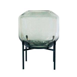 Vaso Decorativo em Vidro na Cor Cinza - 20x15cm
