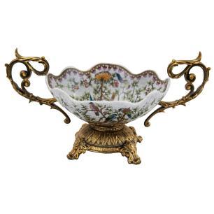 Centro de Mesa em Porcelana Apliques em Bronze - 19x37x20cm