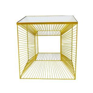 Mesa Auxiliar em Ferro Dourado - 46x46cm