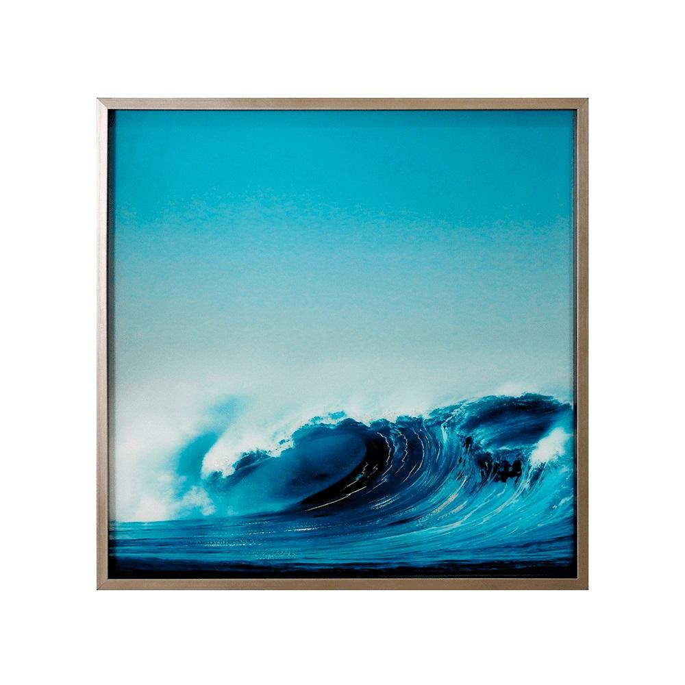 Quadro Decorativo em Vidro com Foto da Onda - 80x80cm