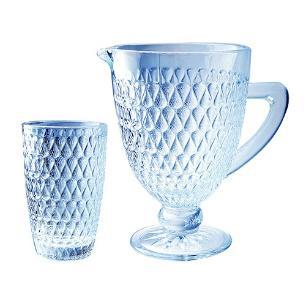 Jogo para Refresco 7 Pecas Amelie em Vidro na Cor Azul Luster - 1L+6x355ml