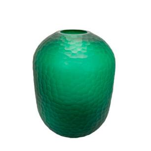 Vaso em Vidro Decorativo na Cor Verde - 40x29cm