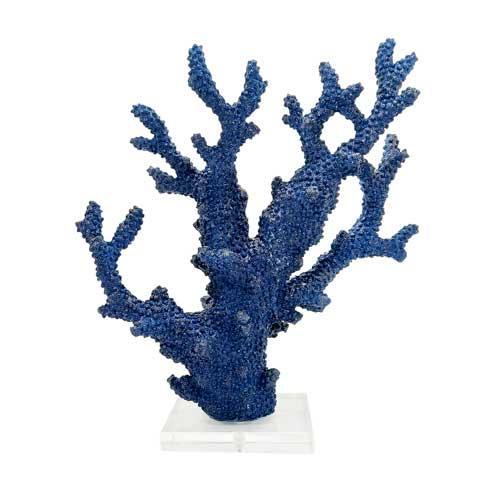 Coral Decorativo Azul com Base Translúcida - 21x28x10cm