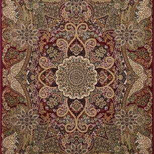 Tapete Persa Isfahan Vermelho com Detalhes Florais - 160x235cm