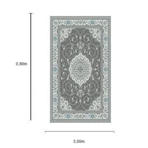 Tapete Persa Qhom Preto - 0,80x3cm
