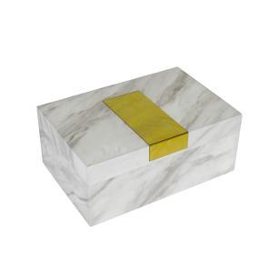 Caixa Decorativa em Madeira com Revestimento Marmorizado Branco e Detalhes em Dourado - 11x24x16cm
