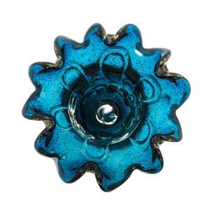 Vaso Decorativo em Murano Azul com Detalhes Dourado - 23x30x23cm
