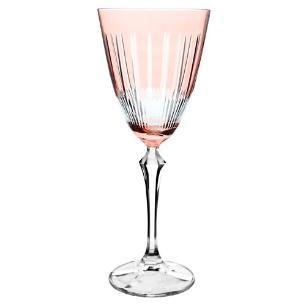 Taça para Água Elizabeth Lapidada em Cristal cor Rosa - 350ml A23cm