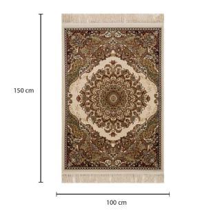 Tapete Persa Qom Bege com Detalhes Florais - 100x150cm
