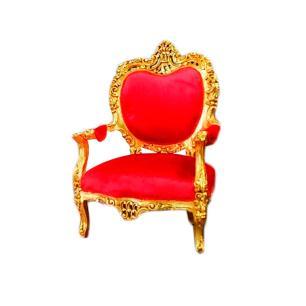 Poltrona Clássica com Estofado Vermelho Folheado a Ouro - 74x65x114cm