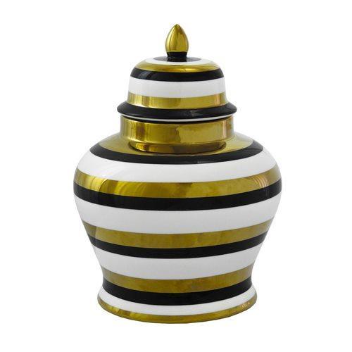 Potiche Decorativo em Porcelana Dourado Branco e Preto