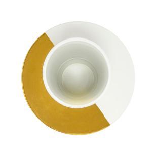 Vaso Decorativo Branco com Detalhes Dourado - 45x28cm