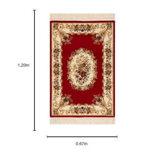 Tapete Persa Vermelho e Bege - 67x120cm
