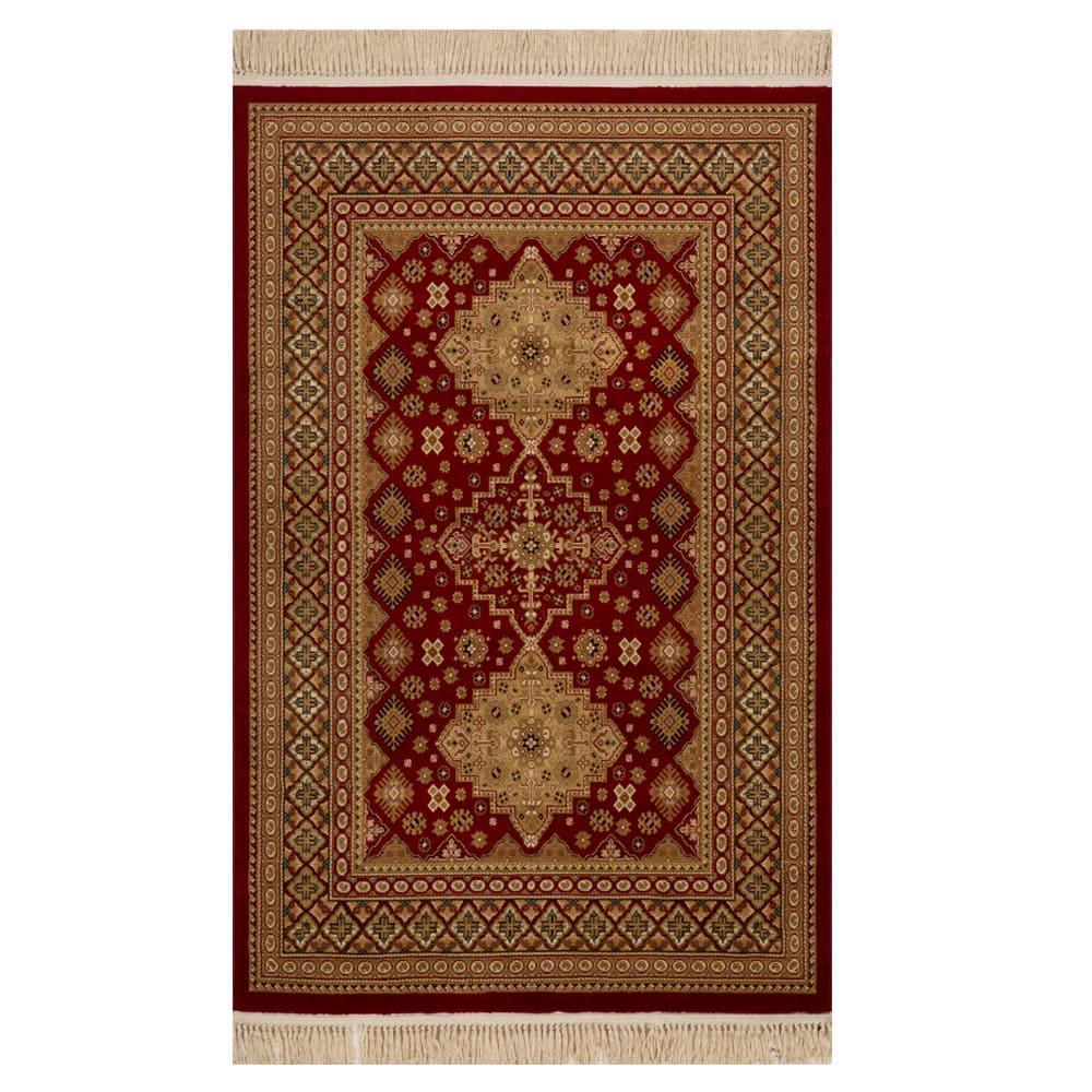 Tapete Persa Bege com Detalhes em Vermelho - 240x340cm