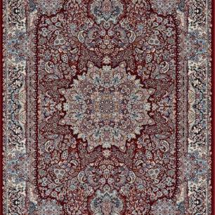 Tapete Persa Ardebil Vermelho com Detalhes Coloridos - 100x150cm