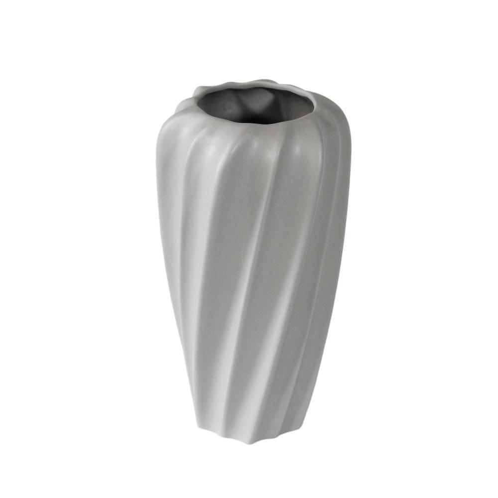 Vaso Decorativo em Cerâmica na Cor Cinza Claro - 29cm