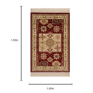 Tapete Persa Abadeh Vermelho com Bordas em Bege - 100x150cm