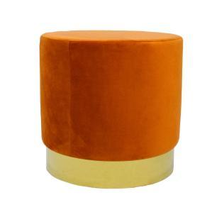 Puff com Base em Metal Dourado e Estofado em Veludo na Cor Laranja - 45x46cm