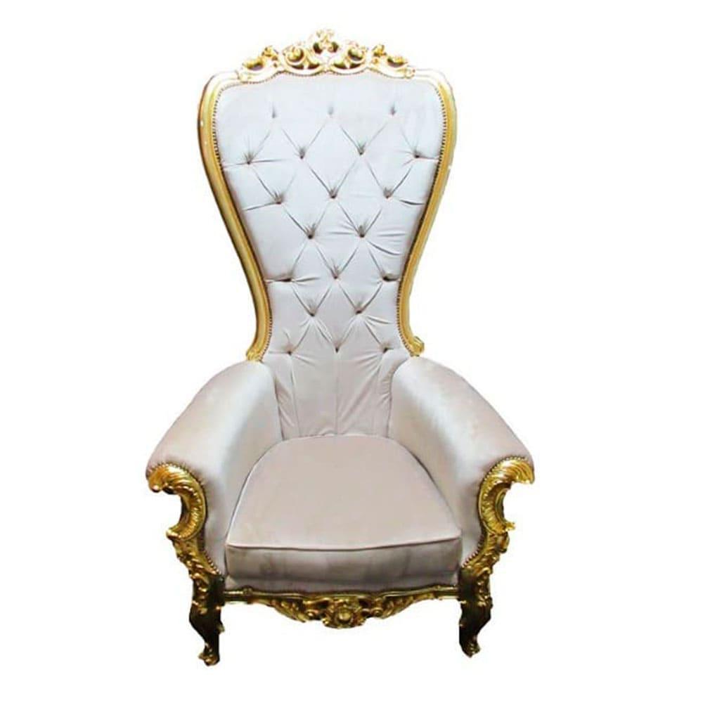 Poltrona Clássica Luis XV Estofado Bege Capitonê Folheada à Ouro - 182x75x98cm