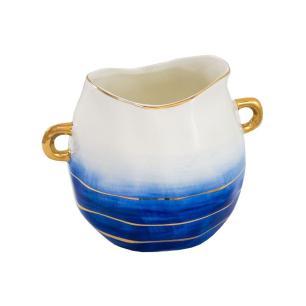 Vaso Decorativo Branco com Detalhes em Azul e Dourado - 14x17x19cm