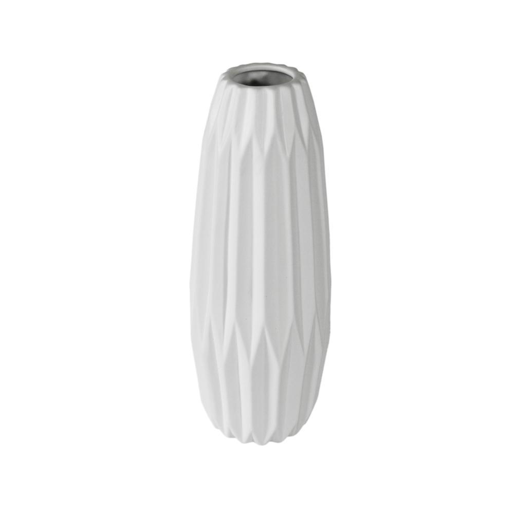 Vaso Decorativo em Cerâmica na Cor Branca - 36x12cm
