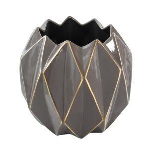 Vaso Decorativo Grande em Porcelana Marrom e Dourado - 33x35cm