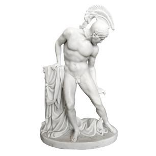 Escultura de Aquiles em Mármore Branco - 63x43x20cm