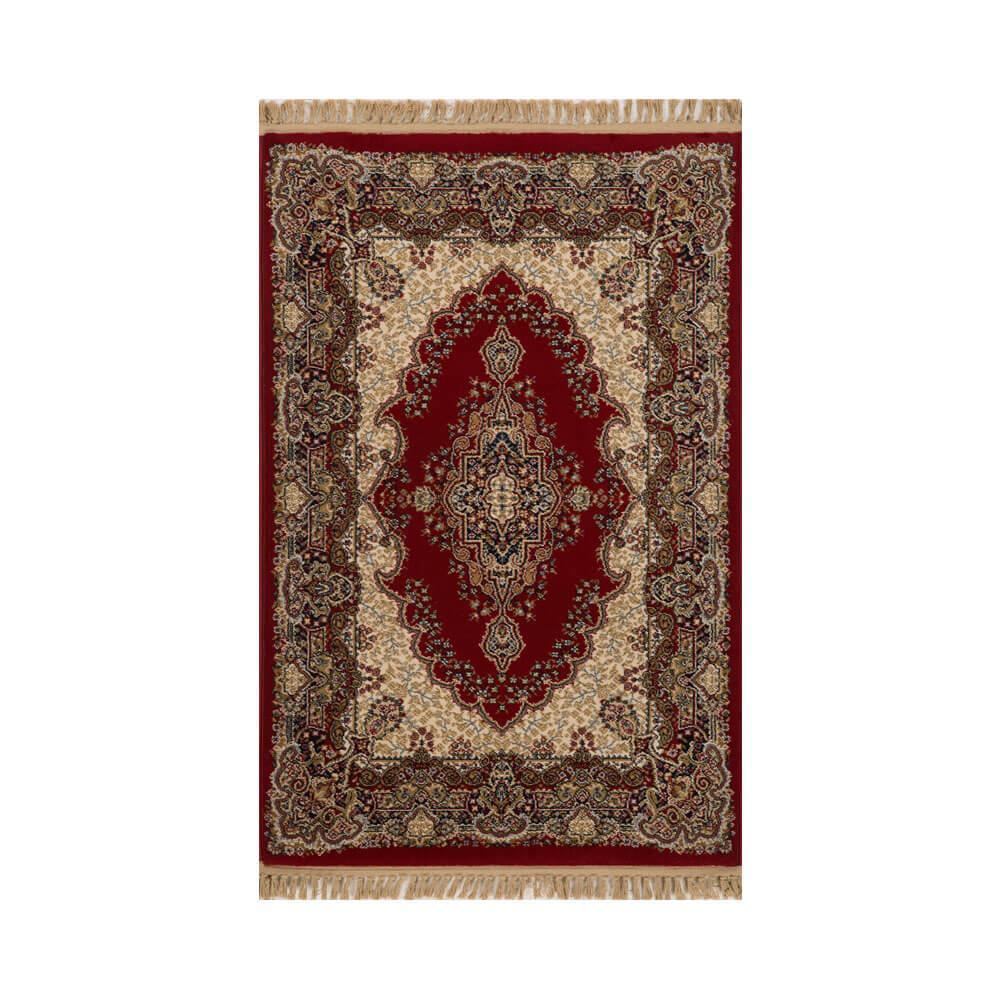 Tapete Persa Kashan Vermelho com Detalhes em Marrom - 67x120cm