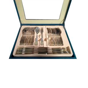 Faqueiro Futon em Aço Inox Prata com Detalhes Dourados com 72 Peças