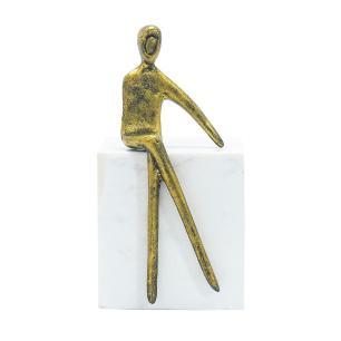 Escultura Decorativa em Metal e Mármore Branco  - 17x08cm