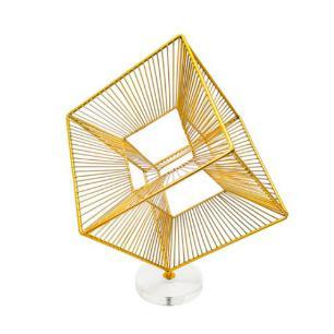 Escultura Decorativa em Metal Dourado e Base - 40x32x32cm