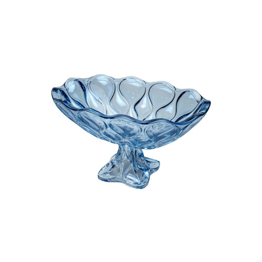 Centro de Mesa Safir em Cristal Azul - 37x22x21cm