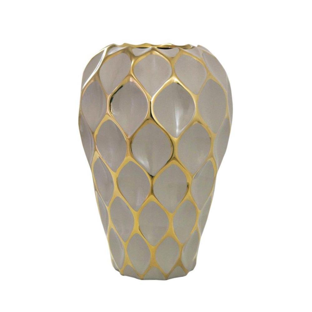 Vaso Decorativo Marrom com Detalhes em Dourado - 35x26x26cm