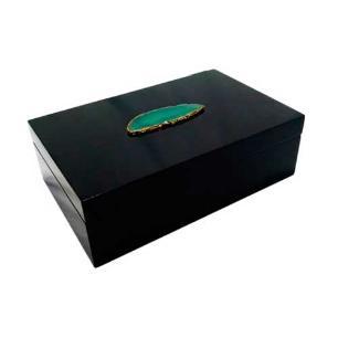 Caixa Decorativa Preto com Detalhes Verde - 8x25x16cm