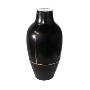Vaso Decorativo em Porcelana na Cor Preta - 57x29cm