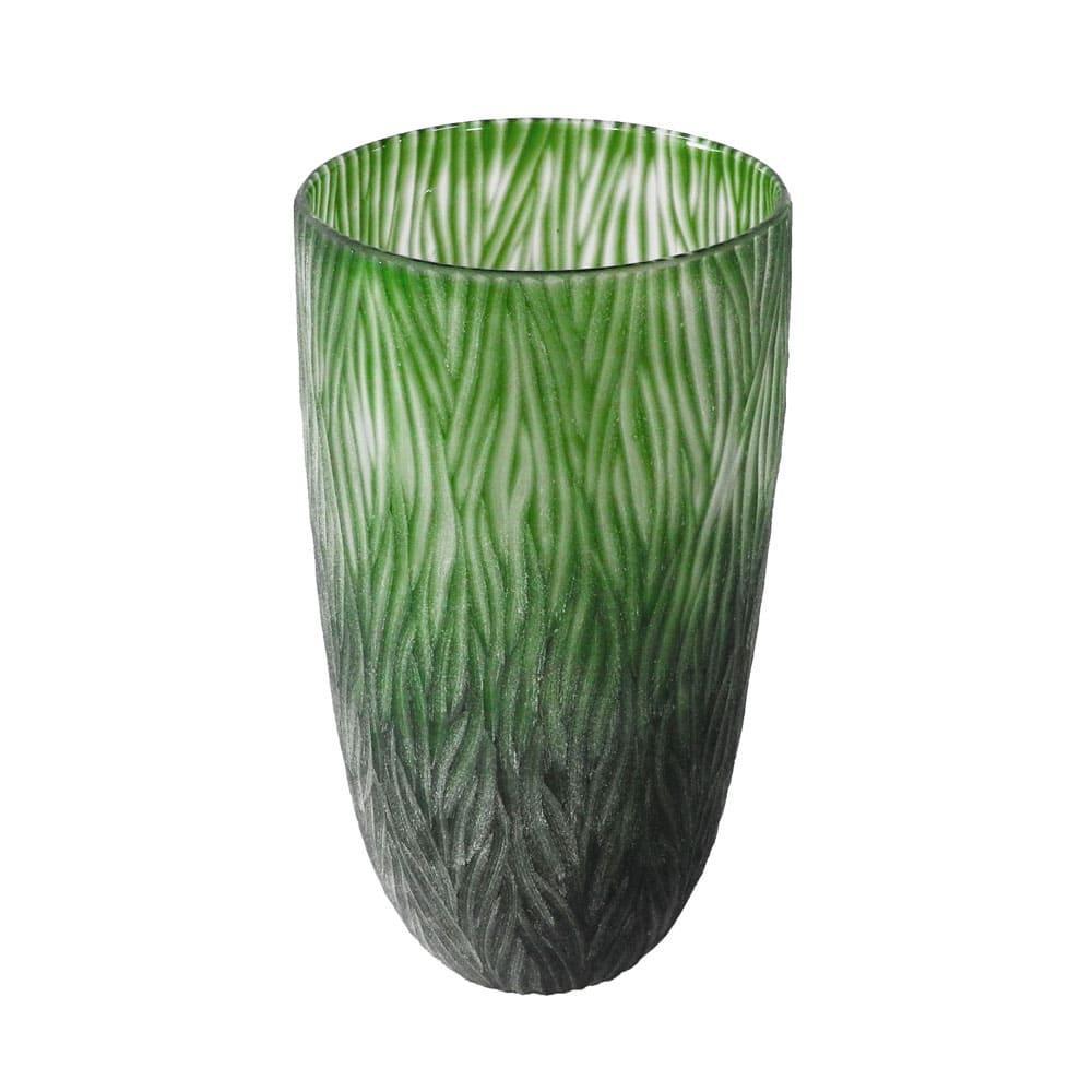 Vaso Decorativo em Vidro na Cor Verde - 36x21cm