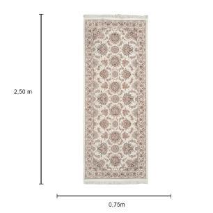 Passadeira Iraniano na Cor Preta e Detalhes em Bege - 250x75cm