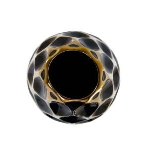 Vaso Decorativo Preto com Detalhes em Dourado - 40x15x15cm