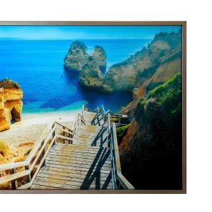 Quadro Decorativo em Vidro com Paisagem de Praia e Escada - 80x120cm