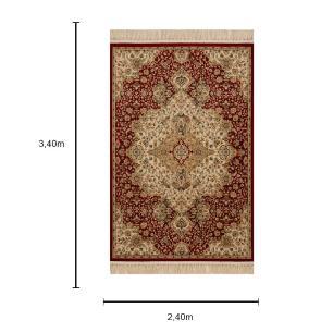 Tapete Persa Vermelho com Detalhes em Bege - 240x340cm
