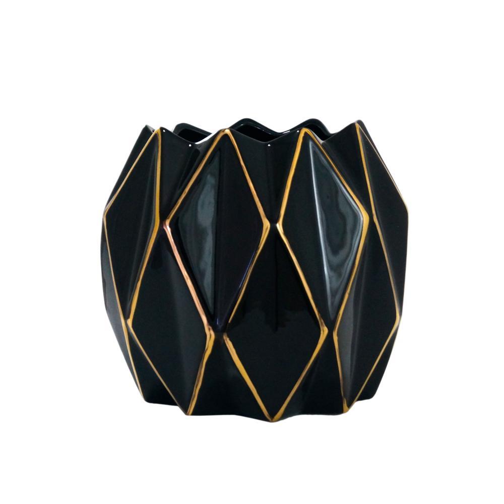Vaso em Cerâmica Decorativo Preto e Dourado - 20x23cm