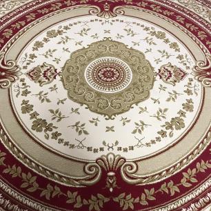 Tapete Persa Redondo Vermelho e Bege - 250x250cm