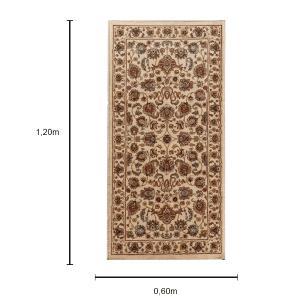 Tapete Persa Bege Claro com Detalhes Marrom - 120x60cm