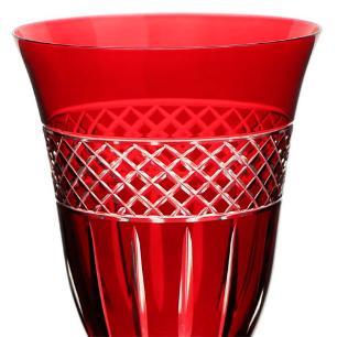 Taça para Vinho Tinto Angela Lapidada em Cristal cor Vermelha - 250ml A21cm