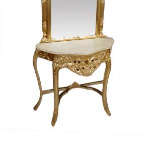 Aparador Clássico Folheado a Ouro com Espelho - 95x39x205cm